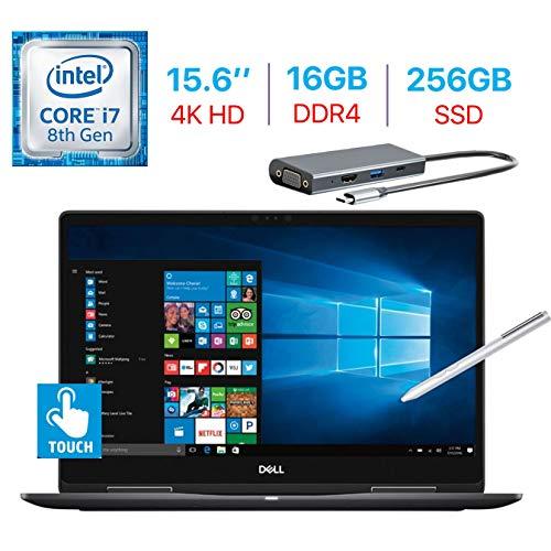 Dell 15.6-Inch 2-in-1 4K Ultra HD (3840 x 2160) Touch Laptop, Intel i7-8550U Processor NVIDIA GeForce MX130, Backlit Keyboard, Stylus Pen Windows 10 w/Type-C Hub (16GB DDR4 RAM/256GB SSD) (Dell Laptop Touch 17)