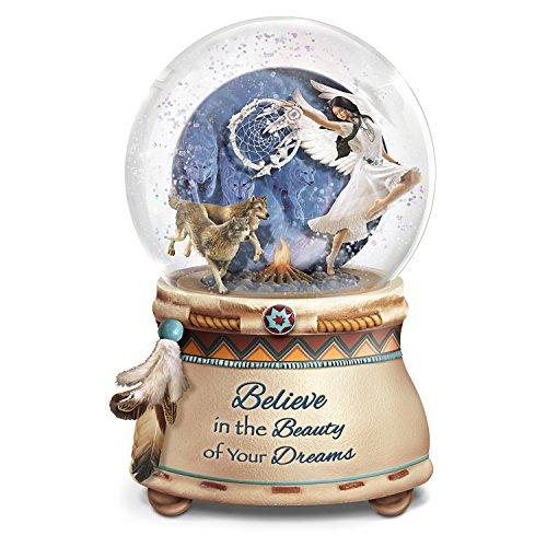 The Bradford Exchange Robin Koni Mystical Dreams Wolf Art Light Up Glitter Globe (Wolf Water Globe)