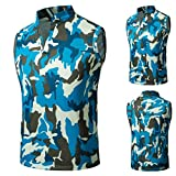 HTHJSCO Men's Sleeveless Zip up Vest, Camouflage Summer Casual Slim Sleeveless T Shirt Tank Top Vest Blouse (Blue, XL)