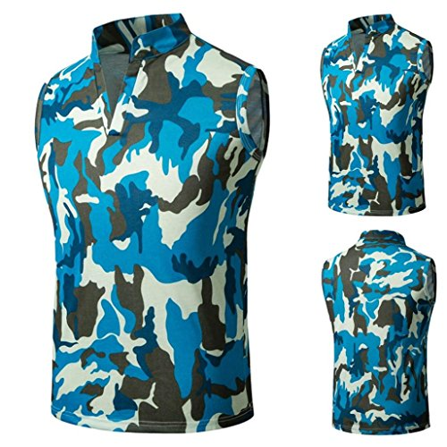HTHJSCO Men's Sleeveless Zip up Vest, Camouflage Summer Casual Slim Sleeveless T Shirt Tank Top Vest Blouse (Blue, XL) by HTHJSCO
