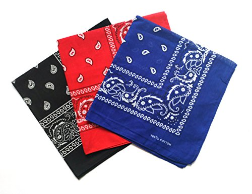 ComboCube 12 Pack Multi-Purpose Cotton Paisley Cowboy Bandanas Headband for Men and Women,Black&Blue&Red -