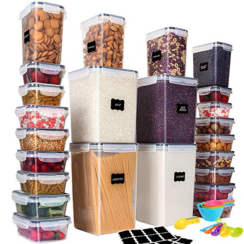 Airtight Food Storage Containers with Lids LARGEST Set of 48 Pc Cereal Storage Containers (24 Container Set) Airtight Dry Food Space Saver Interchangeable Lid, 14 Measuring Cups + Spoons, Labels