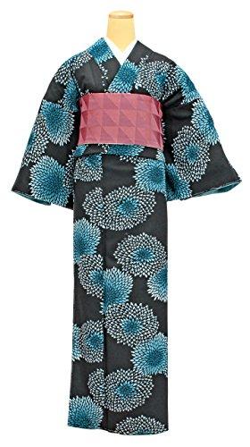 自動化コレクション無駄に洗える着物 半幅帯 2点セット レディース Mサイズ 黒色 青色 N2518