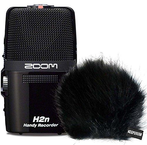 Zoom H2n Handy Recorder H2 Next + KEEPDRUM WS-BK Fell-Windschutz + 2GB SD Karte
