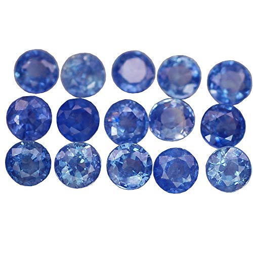 Ploythai 3.60CT Lovely VVS 15PCS Round Heated ONLY Blue Sapphire Natural (Heated Round Blue Sapphire)