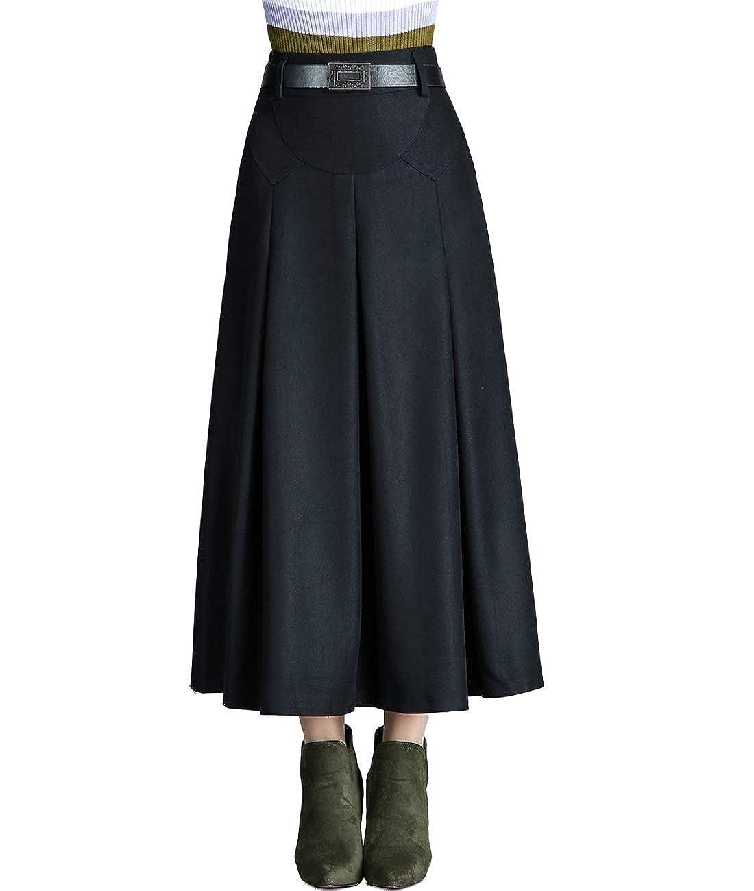 40fd86776b Femirah Women's Autumn Winter Long Pleated Wool Skirt with Pockets: Amazon. co.uk: Clothing