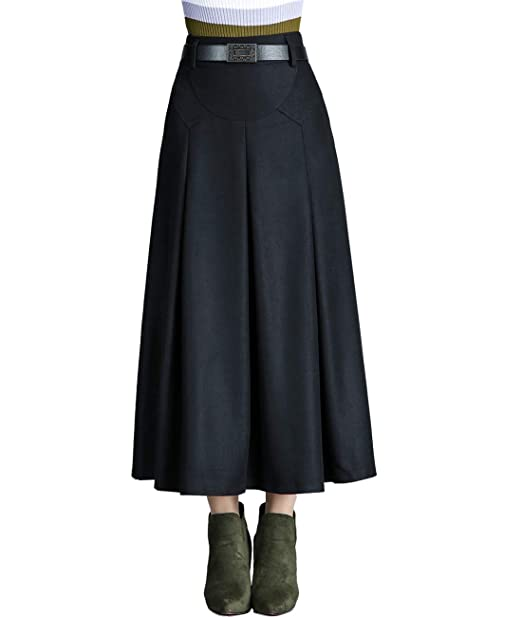 410ffbf3cb Femirah Women's Autumn Winter Long Pleated Wool Skirt with Pockets (Waist  65cm/25.6 inch