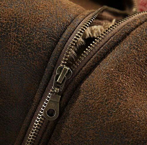 Hombres Estilo Caza Collar Abrigo De Invierno De Abrigo Piel De La Simple Mosca Sintética Ante del La Completo De del De Soporte De 2 khaki De Piel Los Lujo Chaqueta Bombardero Piel De del La La zYaz8WS