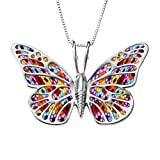 "925 Sterling Silver Butterfly Necklace Pendant Polymer Clay Handmade Millefiori Jewelry, 16.5"" Chain"