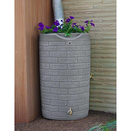 Slate Grey Rain Water Harvester 50 Gallon Barrel (Barrels Wooden Rain)