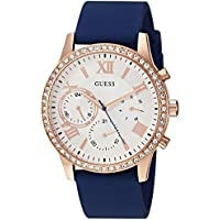 GUESS Women's Quartz Stainless Steel and Silicone Casual Watch, Color:Blue (Model: U1135L3)