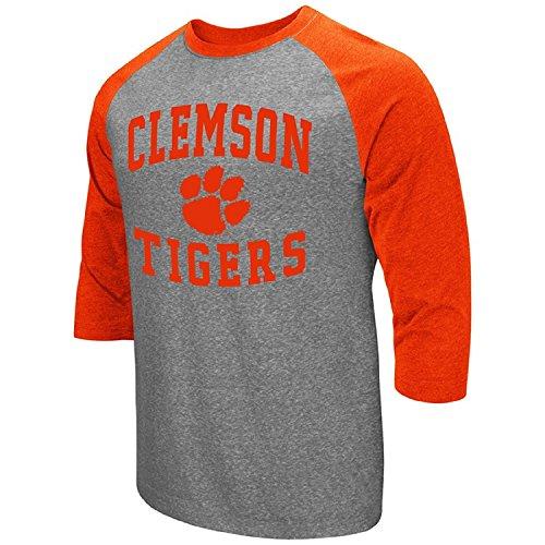 Clemson Tigers Football Jersey - Colosseum Men's NCAA-Raglan-3/4 Sleeve-Heathered-Baseball T-Shirt-Clemson Tigers-XXL