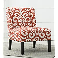 Best Quality Furniture AC260 White Printed, Accent Chair, Red