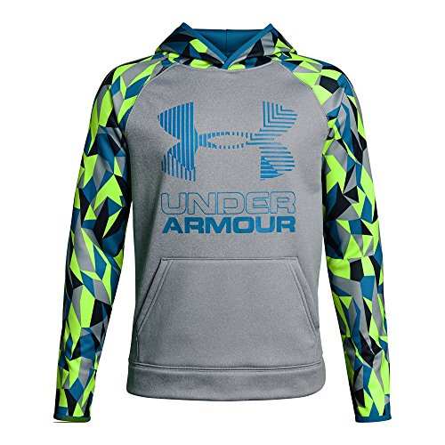 Under Armour Boys' Armour Fleece Printed Big Logo Hoodie, Steel Light Heather /Cruise Blue, Youth Small
