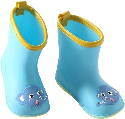 Kids Rain Boots W//Liner Waterproof Girls Boys Cartoon Blue Child Size 1