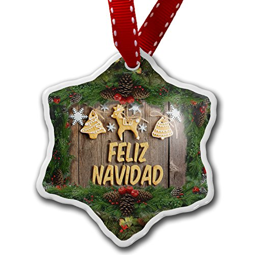 Christmas Ornament Merry Christmas in Spanish from Spain, Mexico, South America - Neonblond by NEONBLOND