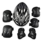 7Pcs Adult Sports Safety Protective Gear Set, RuiyiF Elbow Pad Knee Support Wrist Guard and Helmet for Adult Skateboard Skating Blading Cycling Riding