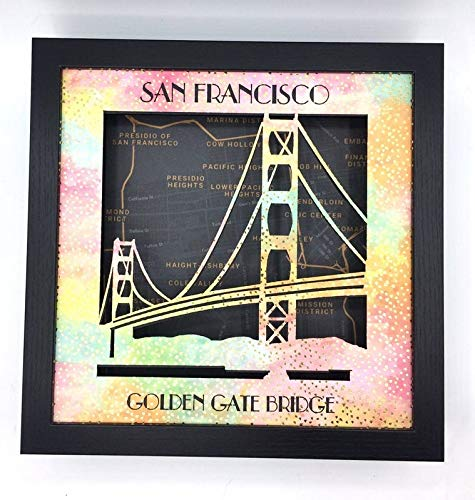 - Golden Gate Bridge Rainbow Paper San Francisco Gay Pride Shadow Box and City Streets Map, LGBTQ Pride Month Tie Dye, SF Gift Wall Art