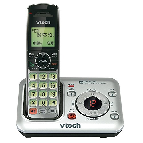 VTech CS6429 DECT 6.0 Cordless Phone with Answering System and Caller ID, Expandable up to 5 Handsets, Wall-Mountable, Silver/Black (Cordless Phone Mountable)