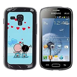 Paccase / SLIM PC / Aliminium Casa Carcasa Funda Case Cover - Cute Couple Kiss Love - Samsung Galaxy S Duos S7562