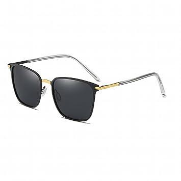 Gafas de Sol Hombres Cuadrados Gafas de Sol Polarizadas , Gris Oro
