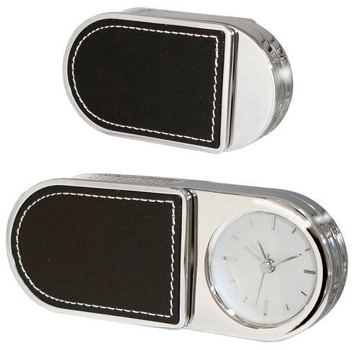 Natico Folding Alarm Clock With Leather Trim (10-3964L) by Natico