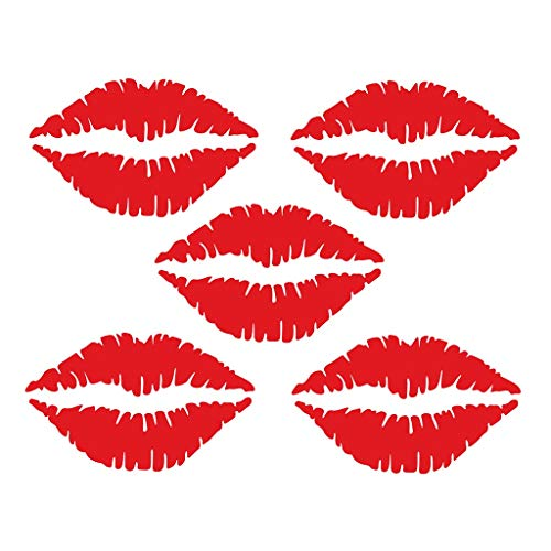 Iusun Wall Stickers 5PCS Sexy Lips Fridge Pattern Window Wall Removable Art Vinyl Decal Mural for Bedroom Living Room Restaurant Kids Nursery Kindergarten Mall Decoration (Red)