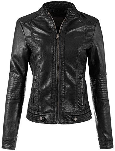 BEKTOME Womens Leather Bomber Jacket