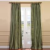 Half Price Drapes DIS-ID37-96 Restful Textured Dupioni Silk Curtain, Green