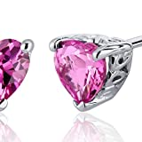 Created-Pink-Sapphire-Heart-Shape-Stud-Earrings-Sterling-Silver-200-Carats