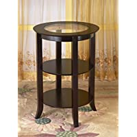 Frenchi Home Furnishing Wood Round Side/Accent Table Inset Glass with Two Shelves