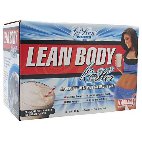 Lean Body For Her, de remplacement de la farine de protéines, crème glacée molle à la vanille, 20 paquets, à partir de Labrada