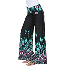 White Mark Women's Wide Leg Printed Peacock Feather Palazzo Pants