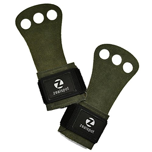 Z Zealspot 3 Holes Leather Gymnastics Hand Grips For Pullups  Weight Lifting  Powerlifting Chin Ups  Exercise  Kettlebell And Barbells Green S