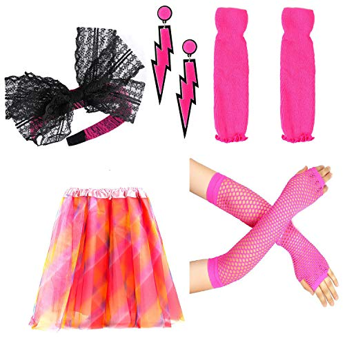 Beelittle Women's 80s Fancy Outfit Costume Accessories Set (02) -