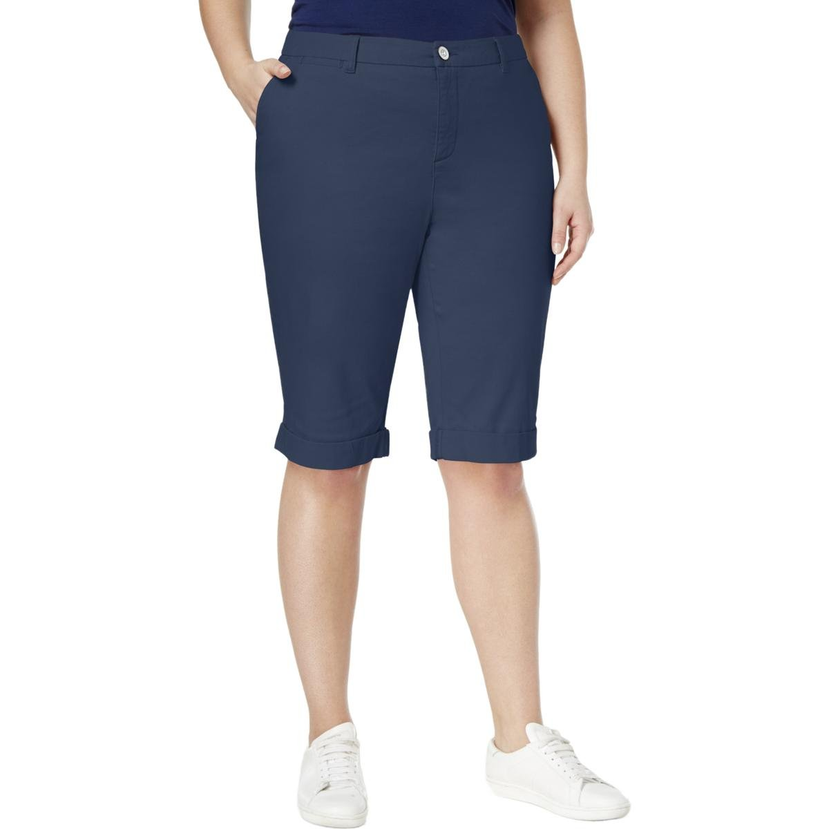 Style & Co. Womens Plus Comfort Waist Band Stretch Bermuda Shorts Blue 24W