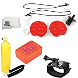Surf Accessory Kit Includes Wrist Strap + Bobber Handle with Thumb Screw + Surfboard Mount Kit + Floaty Sponge & 3M Adhesive + Microfiber Cleaning Cloth for GoPro HERO+ - HERO4 Session - HERO4 - HERO3+ - HERO3 (Black - Silver & White) - HERO & HERO+ LCD