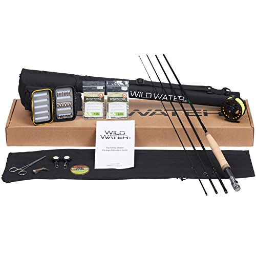 Wild Water Fly Fishing Deluxe Rod and Reel Combo 4 Piece Fly Rod 5/6 9' Complete Starter Package (Fly Fishing Kit)