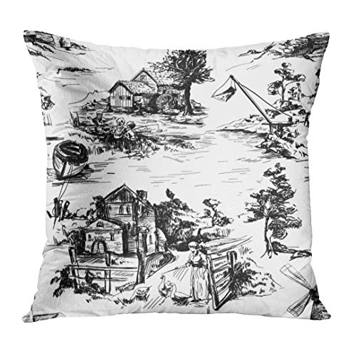 TOMKEYS Throw Pillow Cover Classic Pattern with Old Town Village Scenes of Fishing in Toile De Jouy Style White and Black Color Decorative Pillow Case Home Decor Square 18x18 Inches Pillowcase