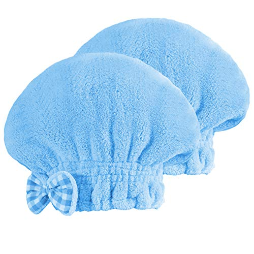 SOFTOWN Microfiber Hair Drying Towel Wrap Super Absorbent for Women with Short Hair (9 x 12 inch, Blue-Short-2 Pack)