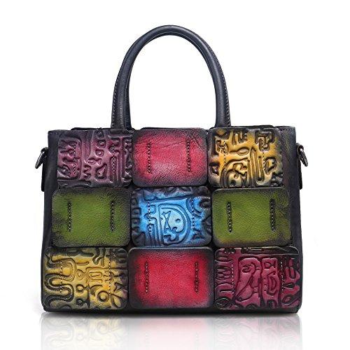 APHISONUK Designer Leather Handbags for Women, Retro Stitching Color Embossed Fashion Tote Shoulder Bags Ladies Handbag Female Bag Black