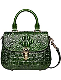 Leather Crossbody Shoulder Bags for Women Crocodile Satchel Handbag