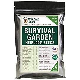 Survival Garden 15,000 Non GMO Heirloom Vegetable Seeds Survival Garden 32 Variety Pack by Open Seed Vault 4 32 Varieties of All Natural Vegetable Seeds: Non hybrid, Non gmo, Heirloom 100% Naturally Grown and Open Pollinated seeds with high Germination Rate Vegetable Growing and Seed Harvesting Guide Included with Seeds Tested for Maximum Germination and Yield.