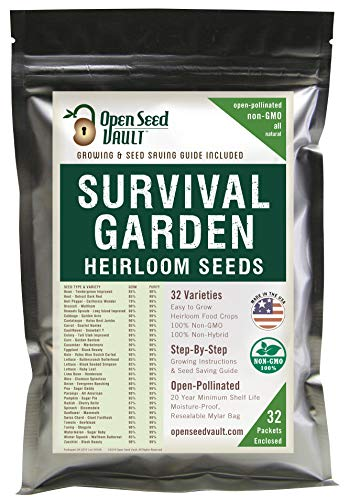 (Survival Garden 15,000 Non GMO Heirloom Vegetable Seeds Survival Garden 32 Variety Pack by Open Seed Vault)
