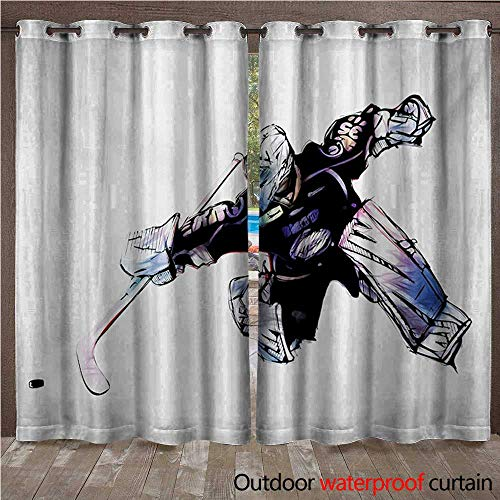 - WilliamsDecor Hockey 0utdoor Curtains for Patio Waterproof Goalkeeper in Hand Drawn Style with Protective Gear in a Competitive Game W108 x L84(274cm x 214cm)