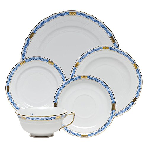 Herend Chinese Bouquet Garland Blue Five Piece Place - Garland 5 Place Setting Piece