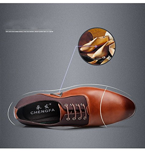 Men Pointed Toe Business Dress Formal Leather Shoes Flat Oxfords Loafers Slip On by Gaorui (Image #5)