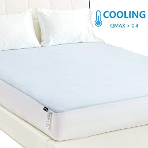 NexHome Cooling Mattress Pad Twin XL Size Mattress Cover Stretches up to 16 Inches Deep, Jersey Knit Mesh - Overfilled with Breathable and Noiseless Snow Down Alternative Filling