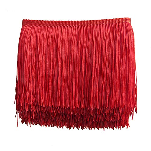 MIPPER 5 Yards of Polyester Fringe Trim 4 Inch Wide for Clothes Dress Dance Costume Sewing DIY Crafting Home Decoration (red)