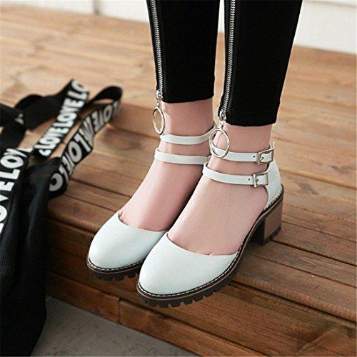 Verano para Zapatos Alto Ayuda el de los Pulsera Espesor de Alto White de Código Sandalia Tacón Baotou El con Hembra Sandalias Mujer Mujer Sandalias con en HvIBAA